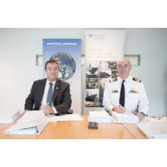 Ian Irving, chief executive, Northrop Grumman Australia, and Rear Admiral Tony Dalton, Head of the Joint Systems Division for the Australian Defence Force, sign the Joint Project 2008 Phase 5B2 contract.