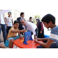 UNICEF Regional Director Geert Cappelaere meets children at a UNICEF-supported Child Friendly Space in the Municipality of Janzour in Tripoli, Libya.
