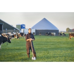 Dairy farmer Heeg in front of the first monofermentation system at dairy farm Sassinga in Hinnaard (Friesland, the Netherlands)