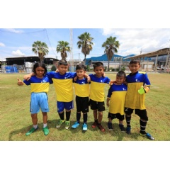 Caption: Children of Thai Union employees along with students from Wat Yaichomprasat School and Wat Sirsudtharam School are pictured during a football clinic organized by Thai Union and Samut Sakhon Football Club.