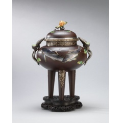 The top lot, an enamel and soft-metal inlaid iron incense burner