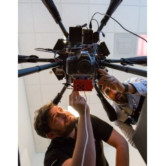Northrop Grumman engineers Charlie Welch and Greg Kravit work on their hexacopter sensor suite in the San Diego FabLab.