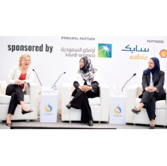"Reem A. Al-Ghanim (center) participates in a LEWAS symposium panel ""Highlighting Corporate Excellence,"" which was moderated by June Wispelway, AIChE executive director, left. Also taking part was Amal Jamil Fatani of Tata Consultancy Services."
