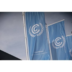 UN climate body - the UN Framework Convention on Climate Change - flags flying outside the Bonn conference centre where COP23 will take place.