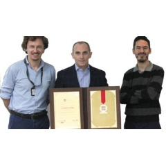 Members of the first-place winning team from EXPEC Advance Research Center, left, include Diego Rovetta, Daniele Colombo, and Ernesto Sandoval-Curiel.