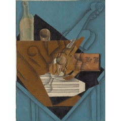 Juan Gris (Spanish, 1887–1927). The Musician's Table, 1914. Charcoal, wax crayon, gouache, cut-and-pasted printed wallpaper, blue and white laid papers, transparentized paper, newsprint, and brown wrapping paper; selectively varnished on canvas.