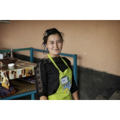 Previously stateless, Nazgul Avaz Kyzy, 22, is now a full citizen of Kyrgyzstan and able to work legally at a local café.   ©UNHCR/Chris de Bode