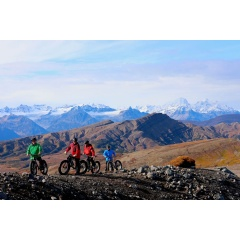 Heli-biking in Alaska at Tordrillo Mountain Lodge.