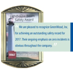 BB&T Lighthouse Beam Safety Award Presented to GreenWood, Inc.