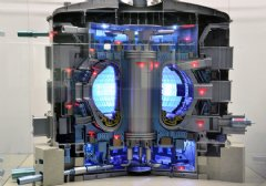 A 1:50-scale model of the ITER Tokamak, complete with lights indicating the major sub-systems. Credit: © ITER Organization, www.iter.org/