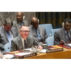 Under-Secretary-General for Political Affairs, Jeffrey Feltman (left), briefs the Security Council at its meeting on general issues relating to sanctions. UN Photo/Eskinder Debebe