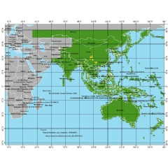 Shaded grid over most of Asia, Japan, and Australia indicates the coverage of the third of four releases of improved topographic (elevation) data now publicly available through USGS archives.