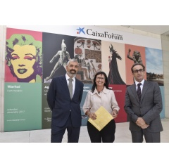 "Elisa Durán, the Deputy General Director of ""la Caixa"" Banking Foundation; Ignasi Miró, the Director of the Culture Department, and Valentí Farràs, the Director of CaixaForum Barcelona."