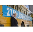 27 empty school buses in Manhattan draw attention to 27 million children out-of-school in conflict zones