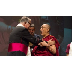 His Holiness the Dalai Lama greeting Archbishop of Messina, Giovanni Accolla at the start of his talk in Messina, Sicily, Italy on September 17, 2017. Photo by Federico Vinci/Città Metropolitana di Messina