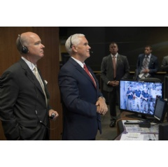 Rep. Robert Aderholt, R-Alabama, and Vice President Mike Pence talk with Expedition 53 crew members Joe Acaba, Randy Bresnik and Mark Vande Hei of NASA. Credits: NASA/Bill Ingalls