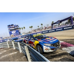 Olsbergs MSE, Honda Conclude the 2017 Red Bull Global Rallycross Season. Mitchell deJong leads teammate Sebastian Eriksson in their Honda Red Bull OMSE Civic Coupes at the Port of Los Angeles.