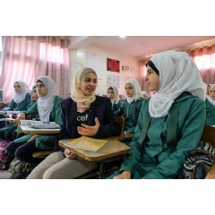 In Amman, Jordan, UNICEF Goodwill Ambassador Muzoon Almellehan met Grade 9 Syrian girls at the Sai'ed Noureddin double shifted public school in Amman. There are over 800 Syrian students in the school. - 