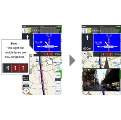 Smartphone screen images of Lane-specific traffic-congestion information