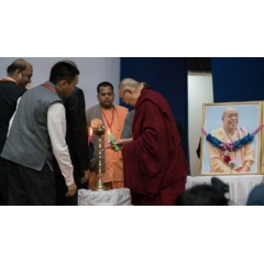 His Holiness the Dalai Lama and principal guests lighting a peace lamp to open the inaugural session of a conference on Science, Spirituality & World Peace at the Government Degree College in Dharamsala, HP, India. Photo by Tenzin Choejor