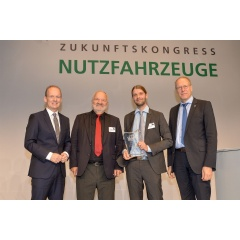 DEKRA's Managing Director Wolfgang Linsenmaier, Professor Egon-Christian von Glasner, Fredrich Claezon and Christian Kellner, Chief Executive of the German Road Traffic Safety Council, at the awards ceremony. Werner Popp