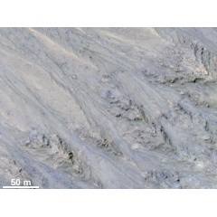 Analysis shows that the flows all end at approximately the same slope, which is similar to the angle of repose for sand.​​​​​​​Credit: NASA/JPL/University of Arizona/USGS. Public domain.​​​&