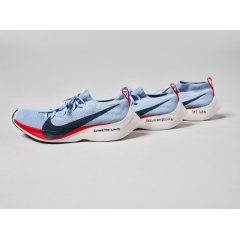 Three custom Nike Zoom Vaporfly Elite shoes, featuring the 4% system, that were worn by the three athletes chasing down a 1:59:59 marathon finish time at Nike's Breaking 2 attempt in May of 2016