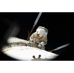 Clad in a Russian Orlan spacesuit, cosmonaut Alexander Misurkin conducts a spacewalk outside the International Space Station Aug.22-2013, during Expedition 36. On Friday, Feb.2-2018, Misurkin will participate in the fourth spacewalk. Credits: NASA