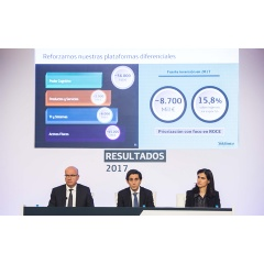 From left to right: Ángel Vilá, Chief Operating Officer (COO), Telefónica S.A.; José María Álvarez-Pallete Chairman & CEO of Telefónica S.A.; and Laura Abasolo, Chief Finance and Control Officer, Telefónica, S.A.