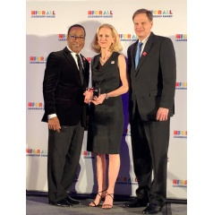 (L-R) Michael C. Bush, CEO at Great Place To Work®; Stephanie Linnartz, Executive Vice President & Global Chief Commercial Officer, Marriott Intl; David Rodriguez, Executive Vice President & Global Chief Human Resources Officer, Marriott Intl.