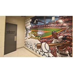 SunTrust Park in Atlanta, Georgia, celebrates a new partnership between the Atlanta Braves and American Standard with the bold hallway murals that blend views of the building with the brand's popular plumbing fixtures.
