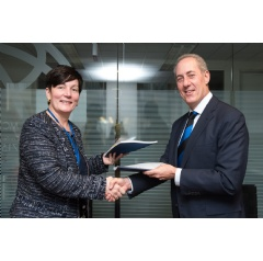 Stephanie von Friedeburg, IFC Chief Operating Officer and Michael Froman, Vice Chairman and President, Strategic Growth at Mastercard Sign Updated Agreement in Washington, DC on Sunday During the World Bank's Annual Spring Meeting