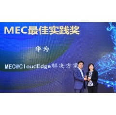 Zhou Yan, Director of Research Department of Huawei Cloud Core Network Product Line (right), accepting the award
