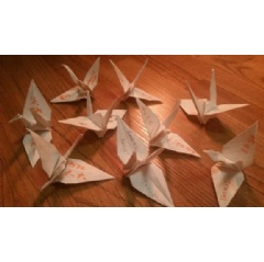 Paper cranes with the interests of children