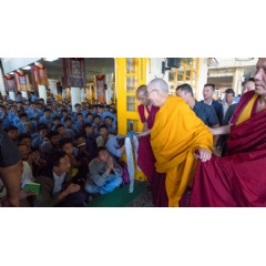 His Holiness the Dalai Lama greeting TCV students as he arrives at the Main Tibetan Temple in Dharamsala, HP, India. Photo by Tenzin Phuntsok