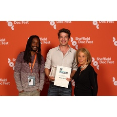 Sascha Schöberl (center) won The Whickers Film & TV