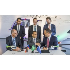 Executives from Milestone, Airbus and Aramco commemorate award of five H145 helicopters.