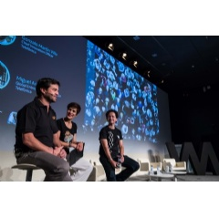 From left to right: Telefónica's Chief Innovation Officer -Gonzalo Martín-Villa, Helena Díez-Fuentes, and the current Manager of Wayra and Global Entrepreneurship Director, Miguel Arias