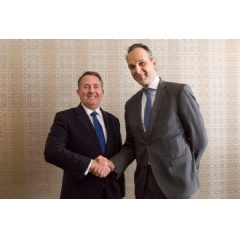 UK International Trade Secretary, Dr Liam Fox MP (left) with Bas Burger, CEO of Global Services, BT
