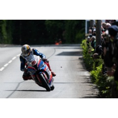Pacemaker, Belfast: Peter Hickman (Smiths Racing BMW) at Gorse Lee during the Superbike Race at tt2019. Picture by Tony Goldsmith