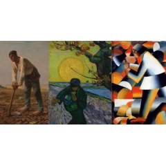 L:Jean-François Millet, Man with a Hoe, 1860-1862, J. Paul Getty Museum, Los Angeles. Middle: Vincent van Gogh, The Sower, 1888, Van Gogh Museum, Amsterdam (Vincent van Gogh Foundation). R: Kazimir Malevich, The Woodcutter, 1912, Collection Stedelijk