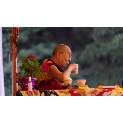 His Holiness the Dalai Lama enjoying a cup of tea during a break on the first day of his teachings in Manali, HP, India. Photo by Tenzin Choejor