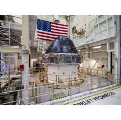 NASA completed building and outfitting the Orion crew capsule for the first Artemis lunar mission in June 2019. The spacecraft is being prepared for its uncrewed test flight atop NASA's Space Launch System (SLS) rocket. Credits: NASA/Radislav Sinyak