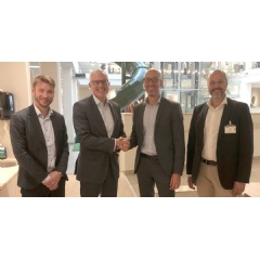 From left to right: Kenneth Nybohm, CFO at MedMera Bank, Manfred Krieger, CEO at MedMera Bank, Olof Dedering, Vice President, Credit Solutions and Services at Tieto, and Per Höglin, Manager Loan Administration at Tieto.