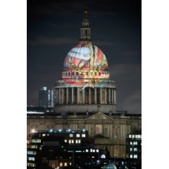 William Blake's 'The Ancient of Days' 1827, projected by Tate Britain onto St Paul's Cathedral 2019