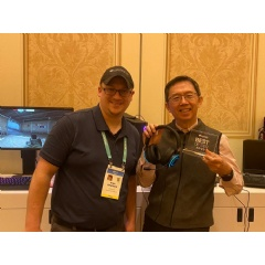 "SXFI GAMER For The Win - CEO of Creative Sim Wong Hoo (right) with the SXFI GAMER, winner of three 'Best of CES' awards, and Ryan Gendreau aka ""BlueDevil"" of Overclock."