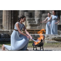At the Olympic Torch lighting ceremony at Ancient Olympia, Greece (AFP/Getty Images) © Copyright