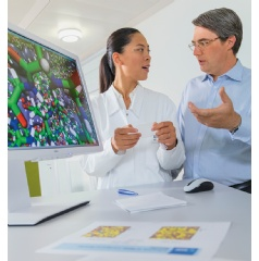 Chemist Dr. Fangfang Chu and simulation expert Dr. Eduard Schreiner discuss the computer simulation of a microencapsulation.