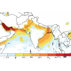 This map shows the maximum wet-bulb temperatures (which combine temperature and humidity) that have been reached in  the region of India, Pakistan, and Bangladesh since 1979.