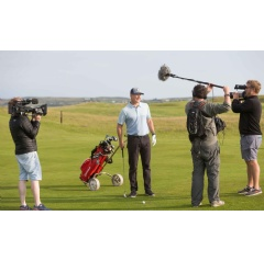 Matt Ginella during filming for the Golf Channel at Lahinch Golf Club.